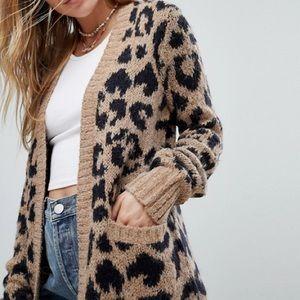 Hollister Leopard Print Knit Cardigan